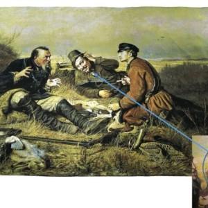 гобелен по картине охотники