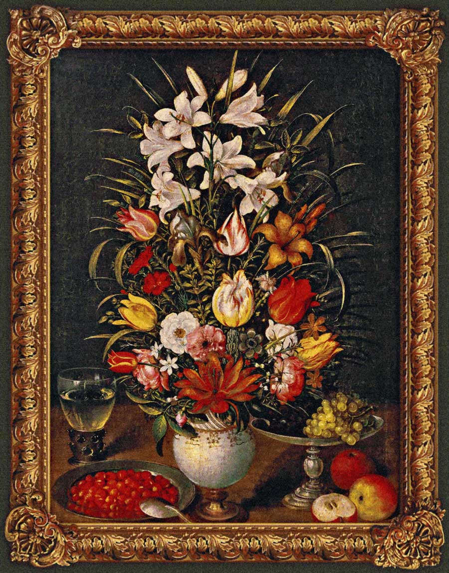 гобелен цветы в вазе