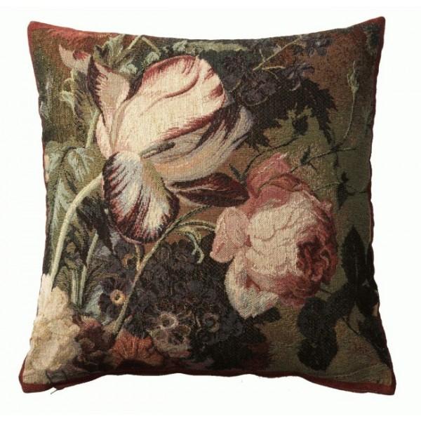 Подушка тюльпаны и розы французская